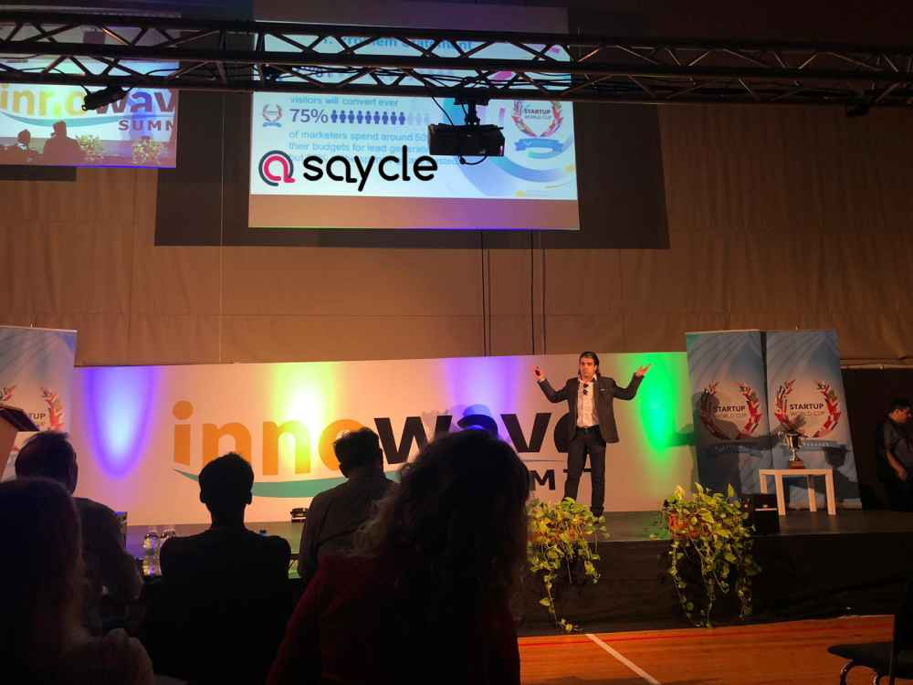 Dian Tankov Pitching Saycle at Startup World Cup
